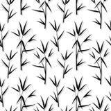 Sömlös modell med sidor för svart bambu och groddfilialer i japansk stil, vit bakgrund Vektor EPS 10 stock illustrationer