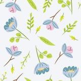Sömlös modell med sidor och blåttblommor Botaniskt blom- Arkivbilder