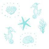 Sömlös modell med sjöstjärnan, snäckskal och havshästen Sömlös modellvektor för dekorativt hav vektor illustrationer