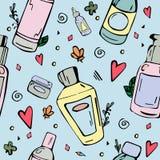 Sömlös modell med skönhetsmedelflaskor stock illustrationer