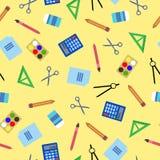 Sömlös modell med skolan, kontorssymboler färgrik bakgrund Royaltyfria Bilder