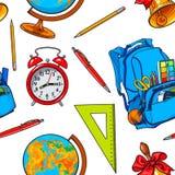 Sömlös modell med skolaobjekt, ryggsäck, jordklot, klocka, klocka stock illustrationer