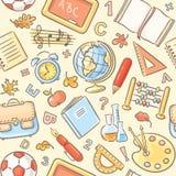 Sömlös modell med skolasaker stock illustrationer