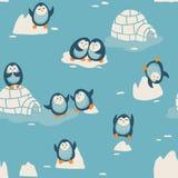Sömlös modell med små gulliga pingvin Royaltyfri Fotografi