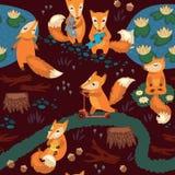 Sömlös modell med små gulliga rävar cartoon Arkivbild