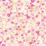 Sömlös modell med små karmosinröda och gula blommor för rosa färger, WA Royaltyfria Bilder
