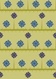 Sömlös modell med små tusenskönor och blåklinter på en blå bakgrund med remsor Blåa och vita blommor Sommarillustr arkivbild