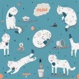 Sömlös modell med snälla skraj vita katter, gyckel som är stilfull Vektorillustration med katttillbehör - mat, leksaker, bruten b stock illustrationer