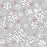 Sömlös modell med snöflingavinterbakgrund på nytt år och julmodellen för hälsningkort royaltyfri illustrationer
