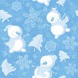 Sömlös modell med snögubbear, snöflingor, gran-träd stock illustrationer