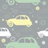 Sömlös modell med stilfulla färgrika bilar och dekorativ objec Arkivbild