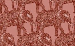 Sömlös modell med stiliserade dekorativa elefanter i indierst Arkivbilder