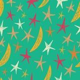 Sömlös modell med stjärnor och månar starry bakgrund Ändlös stilfull blåtttextur Ljus modell Royaltyfria Bilder