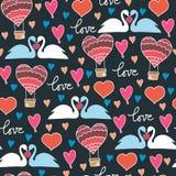 Sömlös modell med svanar och hjärtor på blå bakgrund i vektor stock illustrationer