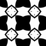 Sömlös modell med svartvitt i vektor, en stjärna och en fyrkant Royaltyfri Foto