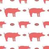 Sömlös modell med svin stock illustrationer