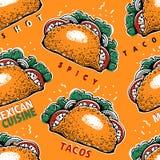 Sömlös modell med tako Mexicansk matbakgrund Traditionell mexicansk kokkonst Tecknad illustration för vektor hand Kan vara vektor illustrationer