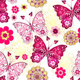 Sömlös modell med tappningfjärilar royaltyfri illustrationer