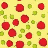 Sömlös modell med tecknad filmäpplen Frukter som upprepar bakgrund Ändlös trycktextur Tygdesign Tapet 576 Royaltyfri Fotografi