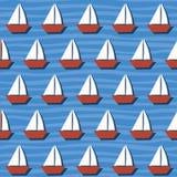 Sömlös modell med tecknad filmfartyg på havet vektor vektor illustrationer