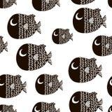 Sömlös modell med tecknad filmfiskar Skandinavisk barnslig textur för tyg, textil Det kan vara nödvändigt för kapacitet av design stock illustrationer