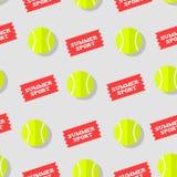 Sömlös modell med tennisbollen och klistermärkesommarsporten Plan stil Det kan vara nödvändigt för kapacitet av designarbete royaltyfri illustrationer