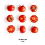 Sömlös modell med tomater abstrakt bakgrund Tomat på den vita bakgrunden Fotografering för Bildbyråer