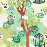 Sömlös modell med träd, fåglar i bur och den blom- prydnaden Arkivbilder