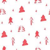 Sömlös modell med träd för handattraktionrosa färger Sömlös prydnad för jul stock illustrationer