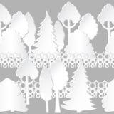 sömlös modell med träd och staketet royaltyfri illustrationer