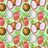 Sömlös modell med tropiska exotiska frukter Drakefrukt- och kokosnötskiva på grön bakgrund Royaltyfria Bilder