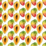 Sömlös modell med tropiska exotiska frukter Mangoskiva på vit bakgrund Royaltyfri Bild