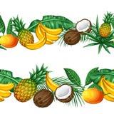 Sömlös modell med tropiska frukter och sidor Bakgrund som göras, utan att fästa ihop maskeringen Enkelt att använda för bakgrund Arkivfoto