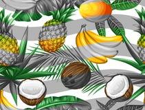 Sömlös modell med tropiska frukter och sidor Bakgrund som göras, utan att fästa ihop maskeringen Enkelt att använda för bakgrund Arkivfoton