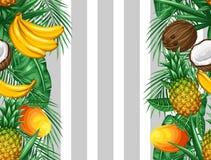 Sömlös modell med tropiska frukter och sidor Bakgrund som göras, utan att fästa ihop maskeringen Enkelt att använda för bakgrund Arkivbilder