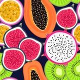 Sömlös modell med tropiska frukter Sund efterrätt frukt- bakgrund Drakefrukt, kiwi, passion, fikonträd, papaya Fotografering för Bildbyråer