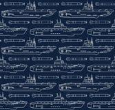 Sömlös modell med ubåtar och torpeder Arkivfoton