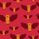 Sömlös modell med ugglor i klotterstil på rött Utdragen vektorbakgrund för hand av gulliga fåglar Design för tryck och T-tröja, s stock illustrationer