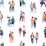 S?ml?s modell med unga par p? romantiskt datum Bakgrund med m?n och h?nder och att g? f?r kvinnor f?r?lskade rymmande stock illustrationer