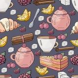 Sömlös modell med utdragna beståndsdelar för hand för en tebjudning på en vit bakgrund Sötsaker för te Mest breakfest morgon stock illustrationer