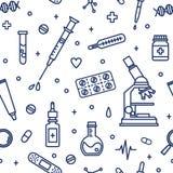 Sömlös modell med utrustning för medicinsk labb Bakgrund med attribut av medicin, pharmaceutics, bot och behandling royaltyfri illustrationer