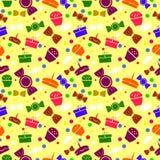 Sömlös modell med varicolored sötsaker och gåvor Arkivbild