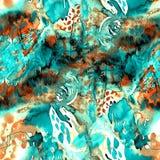 Sömlös modell med vattenfärgabstrakt begreppmålning Royaltyfria Foton