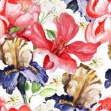Sömlös modell med vattenfärgblommor iris royaltyfri illustrationer