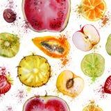 Sömlös modell med vattenfärgfrukter stock illustrationer