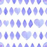 Sömlös modell med vattenfärgromben och hjärtor i violett färg Modern geometrisk bakgrund på papperstextur stock illustrationer