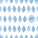Sömlös modell med vattenfärgromben och rundor i blå färg Modern geometrisk bakgrund på papperstextur Retro Triangulars stock illustrationer