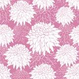 Sömlös modell med vita aster på rosa bakgrund Blommamodell, kontur teckningen hand henne morgonunderkläder upp varmt kvinnabarn U stock illustrationer