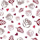 Sömlös modell med vita handrosa färger, burgundy och röda rosa konturer, filialer och hjärtor på en vit bakgrund royaltyfri illustrationer