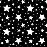 Sömlös modell med vita stjärnor på svart också vektor för coreldrawillustration Royaltyfri Bild